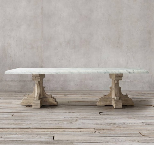 Restoration Hardware White Carrara Marble 3 Thick French Oak Dining Table 84 Rectangle We Love This