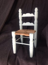 "Miniature wooden doll chair with woven seat:*darling! 12"" painted pale aqua (compare online priced at $20 San Diego, 92131"