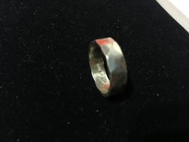 Silver Toned Rock Hammer Finish Ring Size 8.5