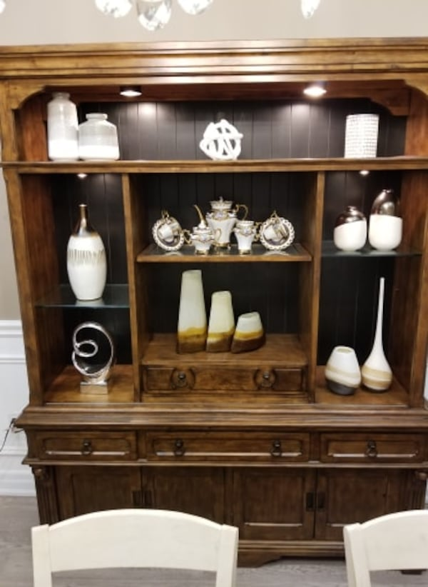 MOVING SALE: DINING ROOM- WALL UNIT 2 piece set d90735d4-f669-40bd-8619-ae6c4fd73926