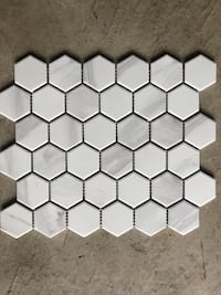 "2"" white hexagon polished mosaic Oakville"