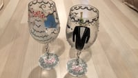 Two decorated wine glasses 38 km
