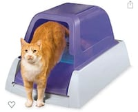 ScoopFree cat litter box with removable hood
