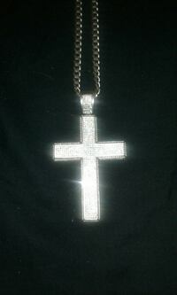 Mens silver chain with cross pendant