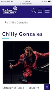 2 Chilly Gonzales tickets (hard tickets) Toronto, M4V 1P7