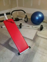 Workout Equipment. Incline bench w/ 40# weights
