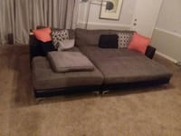 Brown fabric sectional couch Macon