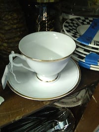 white ceramic teacup and saucer Farmington, 48336