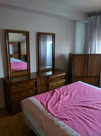 brown wooden dresser with double mirror Toronto, M4H 1J6