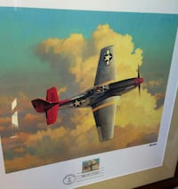 Framed ww2 mustang airplane print + first day stam Woodstock, 22664