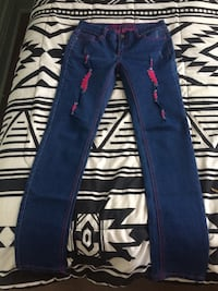 blue denim straight-cut jeans Winnipeg, R2W 1K9