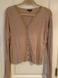 Tan sweater with gold trim