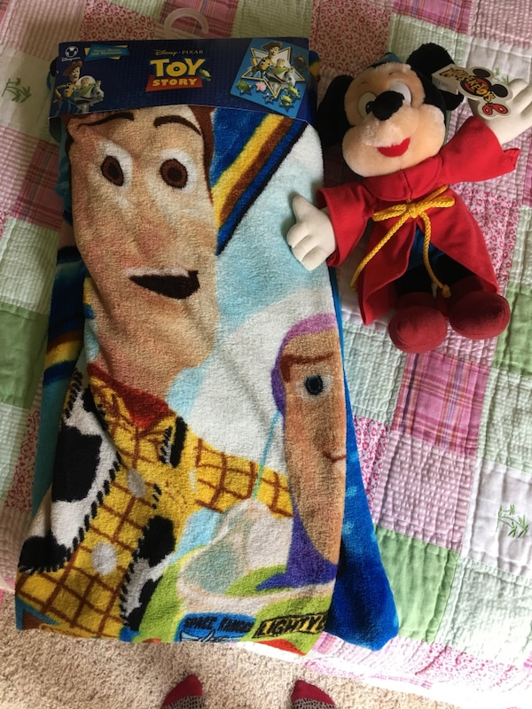 Toy Story blanket and Mickey Mouse stuffed Toy 4ef86e6c-4d87-4d64-b10c-f22647dc15c9