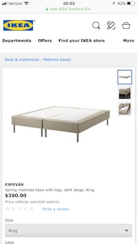 IKEA spring king bed base Washington, 20001