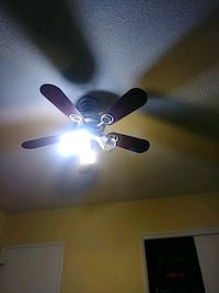 brown 5-blade wooden ceiling fan with lights