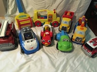 Toy trucks, fire trucks, tractor, bus, Police car & color wheel