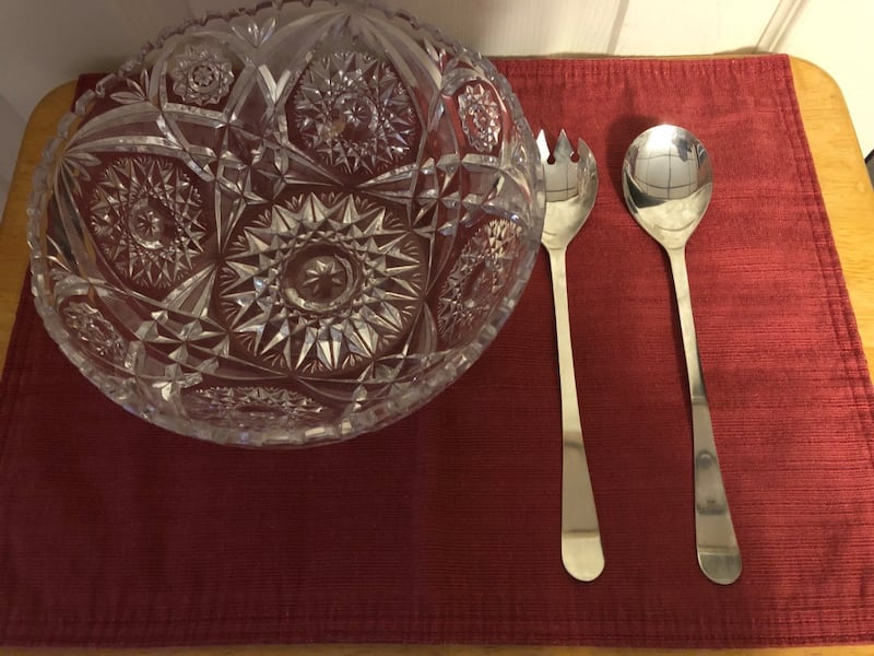 Crystal Salad Bow w/SilverFork/Spoon and Silverplate Candy Dish-$15 ea 5b3ac69a-4233-41cc-9499-ec90b4d215e9