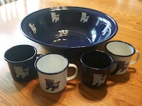 Enamelware Adirondack design Serving Bowl & 4 mugs Arlington Heights, 60005