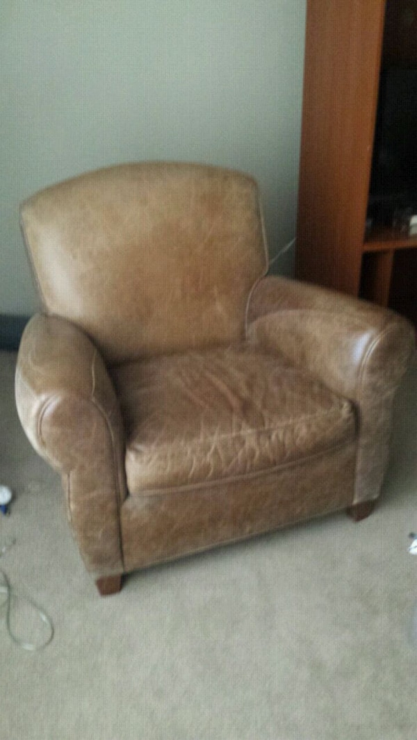 brown leather sofa chair , mint condition.