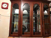 brown wooden framed glass display cabinet Vancouver, V5M 2A6