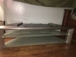 TV stand gray and glass shelves