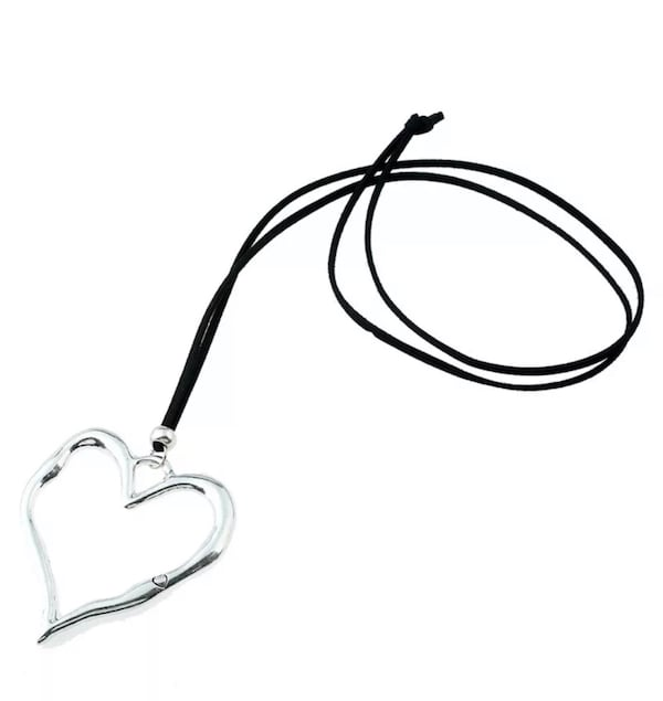 NEW Large abstract heart pendant with long suede leather thong bb17af1e-7d20-4ebb-9018-ef50d186c2ac