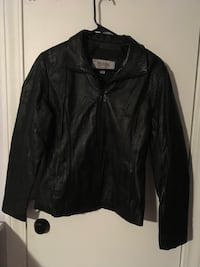 black leather zip-up jacket Cicero, 60804