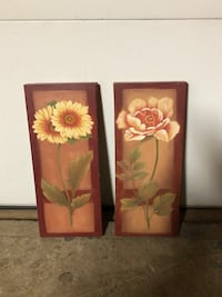 two brown wooden framed flower paintings New York, 10314