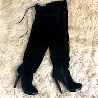 Leather Over the Knee High Heel Boots