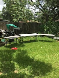 """One 30""""X72"""" Officestar table, and two24""""X48""""lifetime folding tables,$150  Pearland, 77581"""