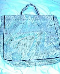 women's gray and blue tote bag