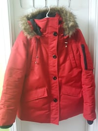 red button-up parka