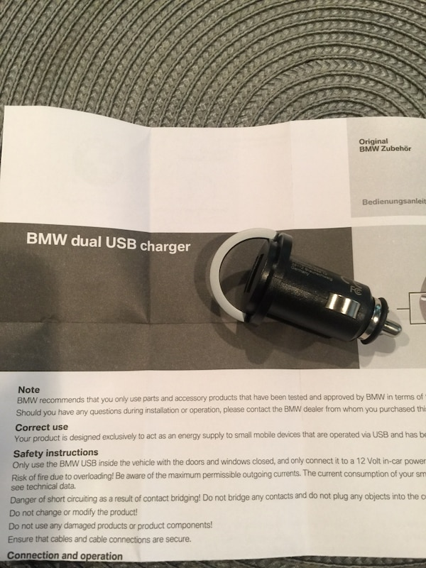 Dual usb charger BMW original 2