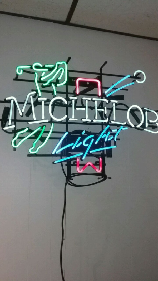 white and blue neon light signage