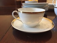 white and brown ceramic teacup with saucer Falls Church