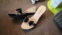 pair of women's brown and black leather peep toe p Southend-on-Sea, SS2