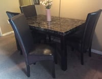 rectangular brown wooden table with six chairs dining set London, N6G 3R9