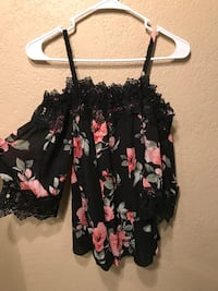 black, pink, and green floral sleeveless mini dress