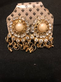 Indian statement  gold and white earrings  Oakville, L6M 2G6