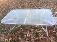 white metal framed glass top patio table Cranston, 02910