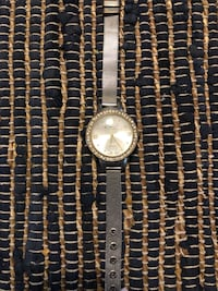 round silver analog watch with silver link bracelet Colleyville, 76034