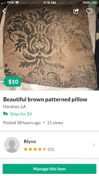Beautiful brown patterned pillow New Orleans, 70123