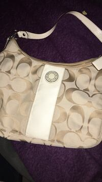 monogrammed white and gray Coach hobo bag Cameron, 28326