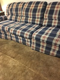 Blue Plaid Couch with recliners on each end and a separate stand alone recliner that is identical to the couch! Elyria, 44035