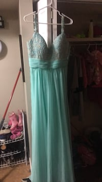 women's teal spaghetti strap dress VANCOUVER