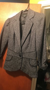 gray 1-button blazer