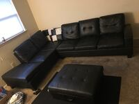 Black leather tufted sectional sofa Baltimore, 21225