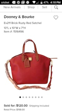 Dooney and Bourke Satchel Red Chino Hills, 91709