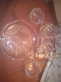 Vintage Mikasa crystal... Serving plate, canape plate and 4 bowls