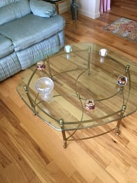 Brass and glass coffee table and two end tables  Boston